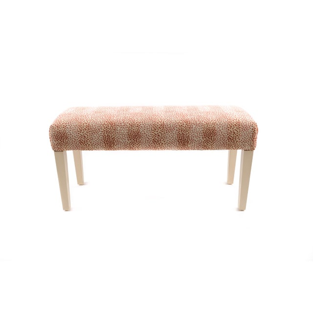 Contemporary Wooden Bench Upholstered in Fabric For Sale - Image 3 of 3