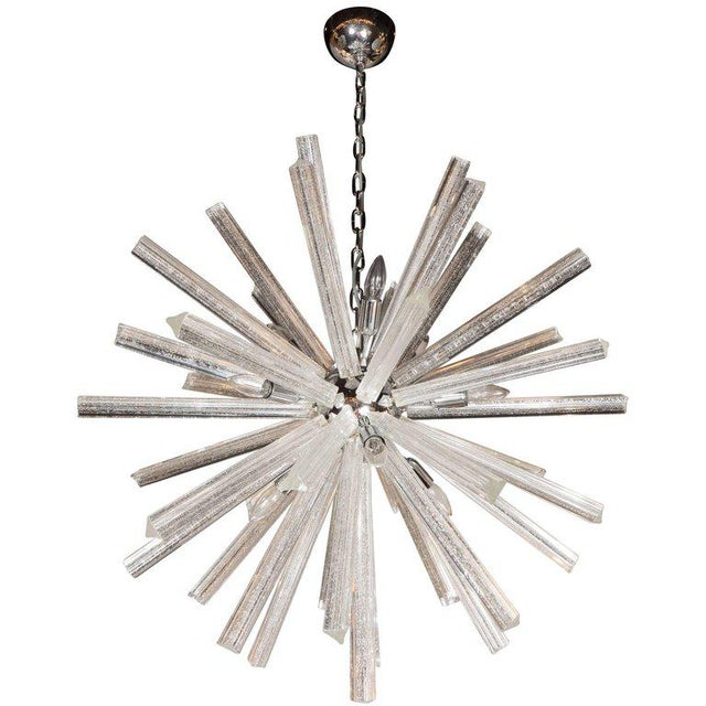 Murano Glass Triedre Chrome Sputnik Chandelier with 24-Carat White Gold Flecks For Sale - Image 9 of 9