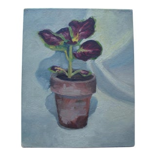 1940s Potted Coleus Leaf Plant Painting