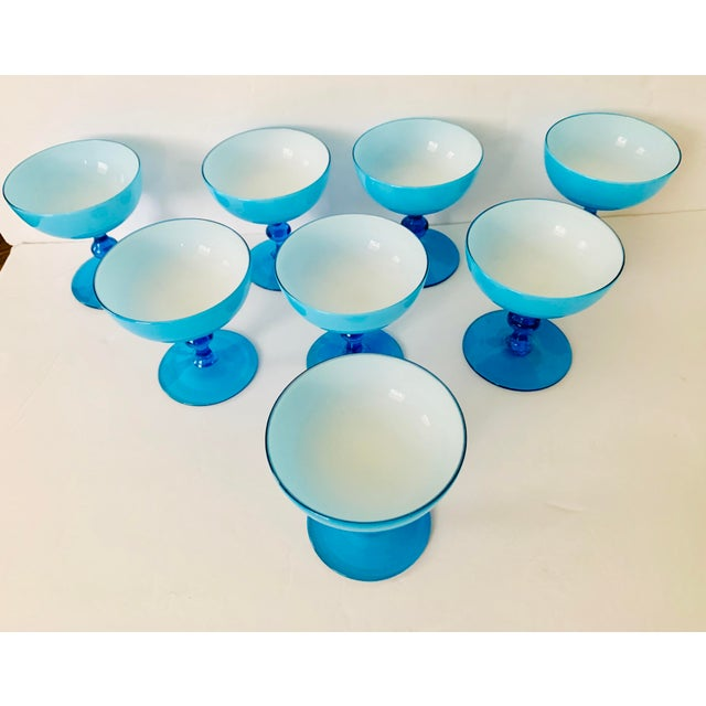 Carlo Moretti Vintage Carlo Moretti Turquoise Cased Glass Coupes - Set of 8 For Sale - Image 4 of 11