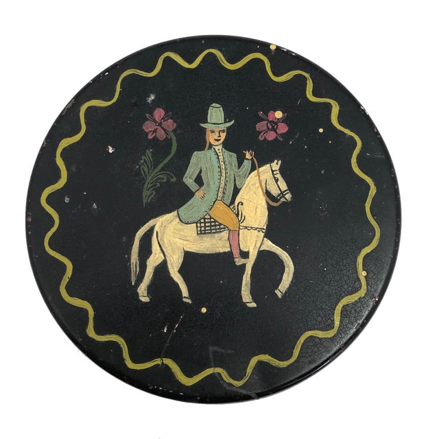 "Every time I look at this fabulous antique hand-painted tin box with smartly suited woman on horseback I think, ""I want to..."