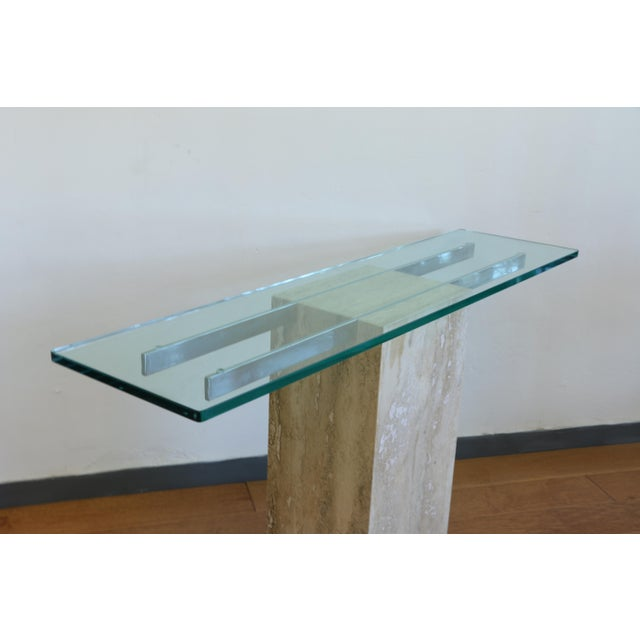 Chrome Vintage Travertine Console Table For Sale - Image 7 of 8