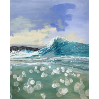 """Paddling Out"" Contemporary Seascape Acrylic Painting by Jenn Griffith For Sale"