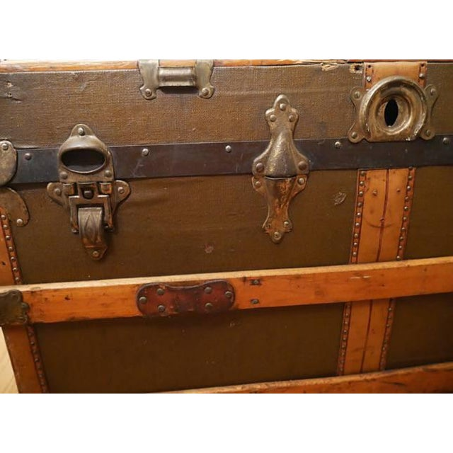 Fabulous Victorian Antique Canvas Leather & Wood Steamer Trunk For Sale - Image 4 of 7