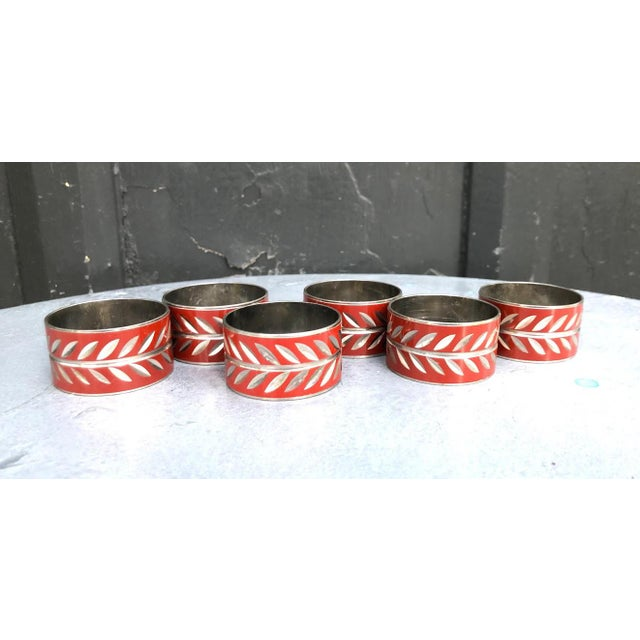 1960s Silver & Red Enamel Napkin Rings - Set of 6 For Sale - Image 4 of 4