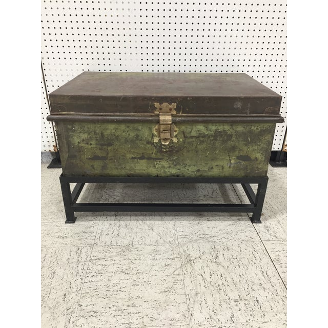 Metal Antique English Military Metal Trunk on Stand For Sale - Image 7 of 7