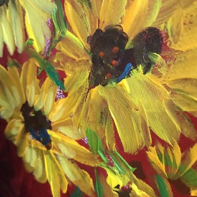 Sunflowers on Red Contemporary Painting For Sale - Image 4 of 9