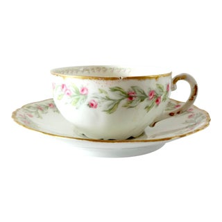 Early 20th Century Vintage Limoges Pink Roses Gold Gilt Scalloped Porcelain Tea Cup and Saucer For Sale