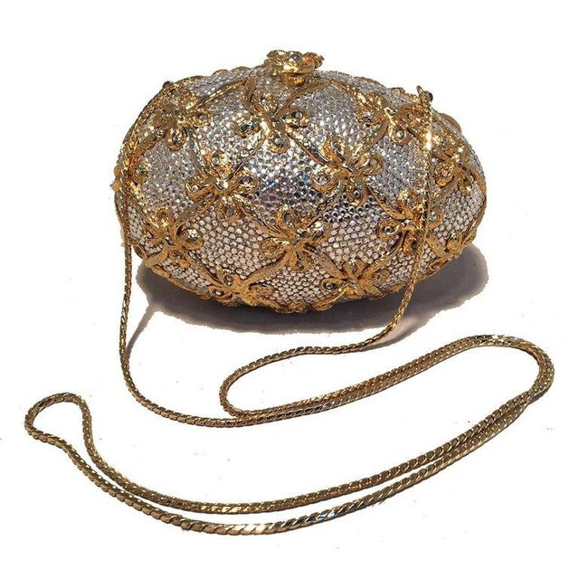 Art Nouveau Judith Leiber Swarovski Crystal Clear and Gold Faberge Egg Minaudiere For Sale - Image 3 of 10