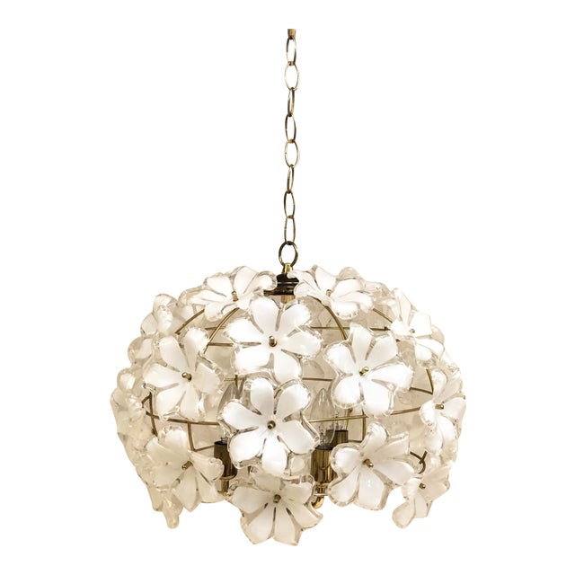 Vintage 1960s White and Gold Flower Chandelier For Sale