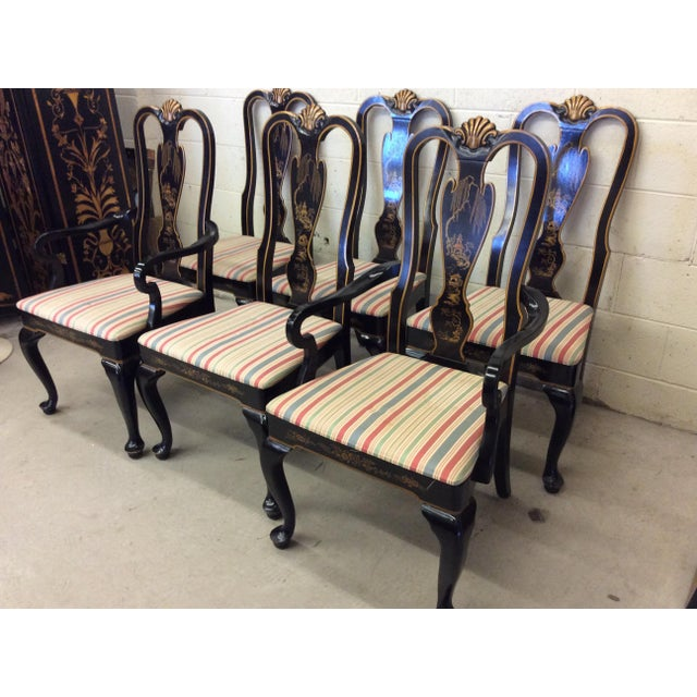 Drexel Heritage Drexel Heritage Black Lacquer Asian Style Dining Chairs - A set of 6 For Sale - Image 4 of 11