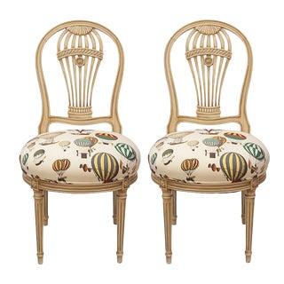 Maison Jansen Balloon Chairs in Fornasetti Balloon Fabric - Pair For Sale