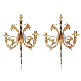 Sculptural 24-Karat Plated Empire Style Wall Sconces With Goat Heads - Pair For Sale