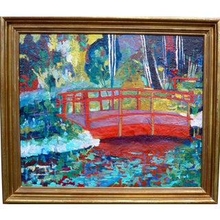Japanese Garden - Original Large Oil Painting For Sale