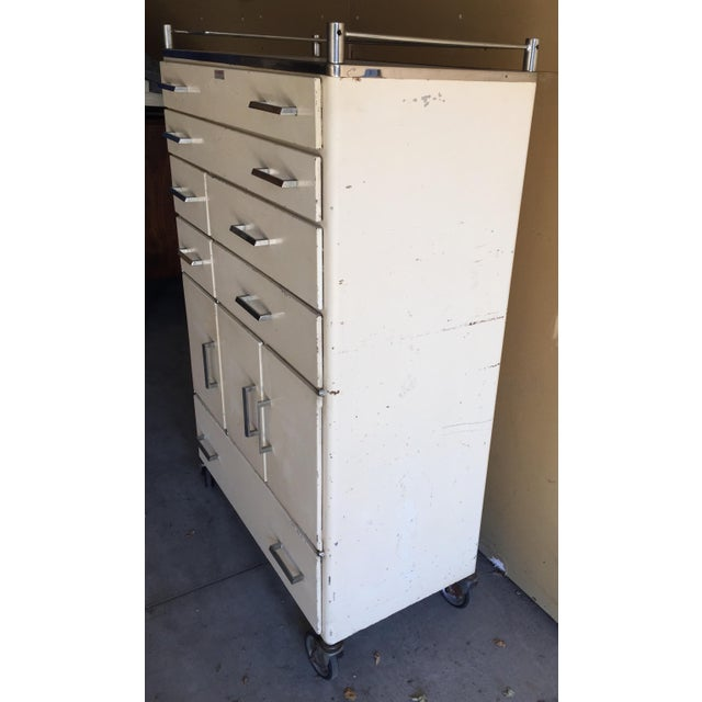 Industrial Vintage Mid-Century Medical Rolling Cabinet For Sale - Image 3 of 5