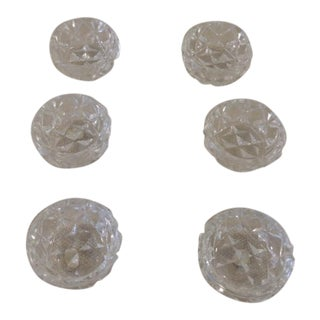 Set of Six Cut Crystal Round Small Salt Cellars For Sale