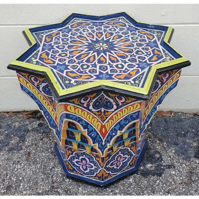 Wood Moroccan Sm Ceuta 2 Painted and Carved Star Table, Multi-Color For Sale - Image 7 of 8