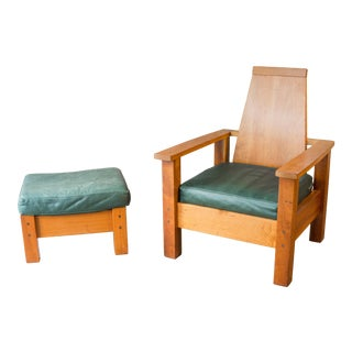 1990s Arts & Crafts Cherry Wood Armchair and Ottoman by Berkeley Mills - a Set For Sale