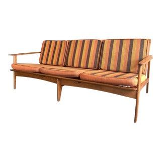 Mid-Century Modern Yugoslavian Walnut Open Arm Sofa