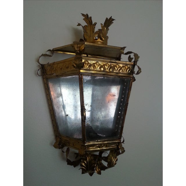 Venetian Style Gilt Tole and Glass Wall Lantern For Sale - Image 10 of 10