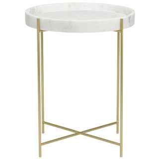 Chico Side Table, Antique Brass, Metal and Stone For Sale