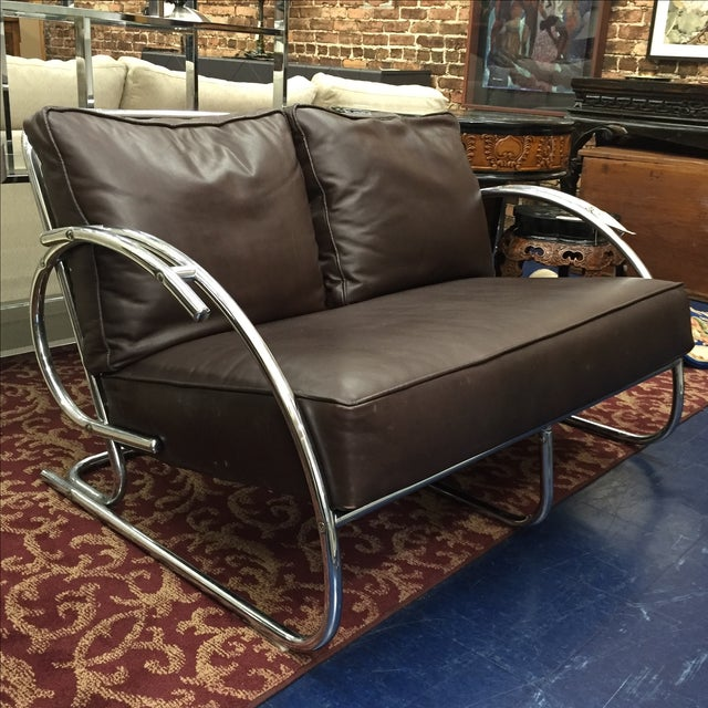 Chrome and Brown Leather Loveseat - Image 6 of 6