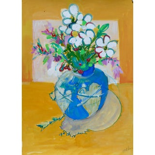 Impressionist Flowers in a Heart Vase For Sale