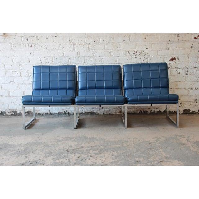 Mid-Century Modern 1970s Vintage Chromcraft Milo Baughman Style Three-Seat Sofa For Sale - Image 3 of 11