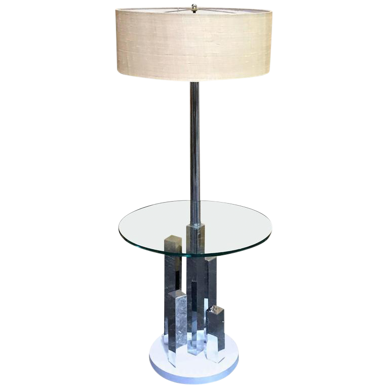 Attrayant Mid Century Cityscape Style Standing Lamp Table For Sale
