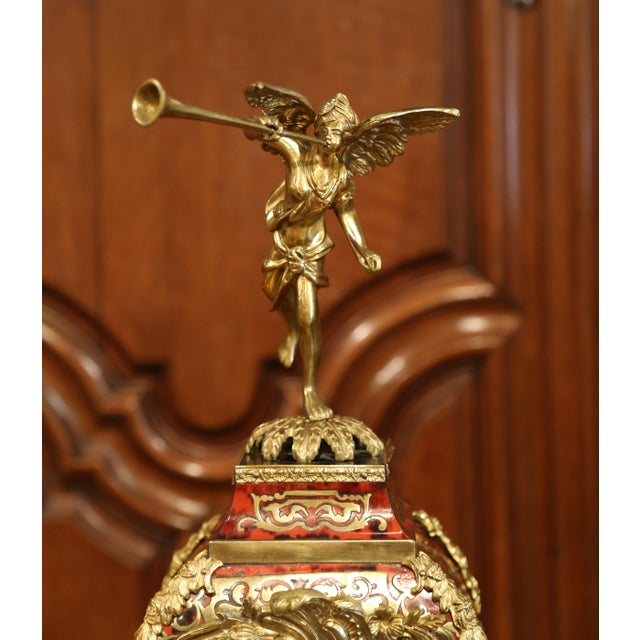 Brass Mid-20th Century French Tortoiseshell and Bronze Boulle Mantel Clock With Base For Sale - Image 7 of 11