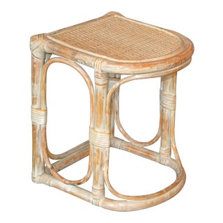 Vintage Bamboo & Cane White Washed Side Table, End Table For Sale