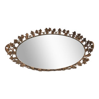 Mid Century Gold Finish Oval Mirror Vanity Tray For Sale