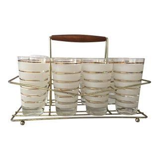 Mid- Century 24k Gold Banded Glasses With Caddy - Set of 8