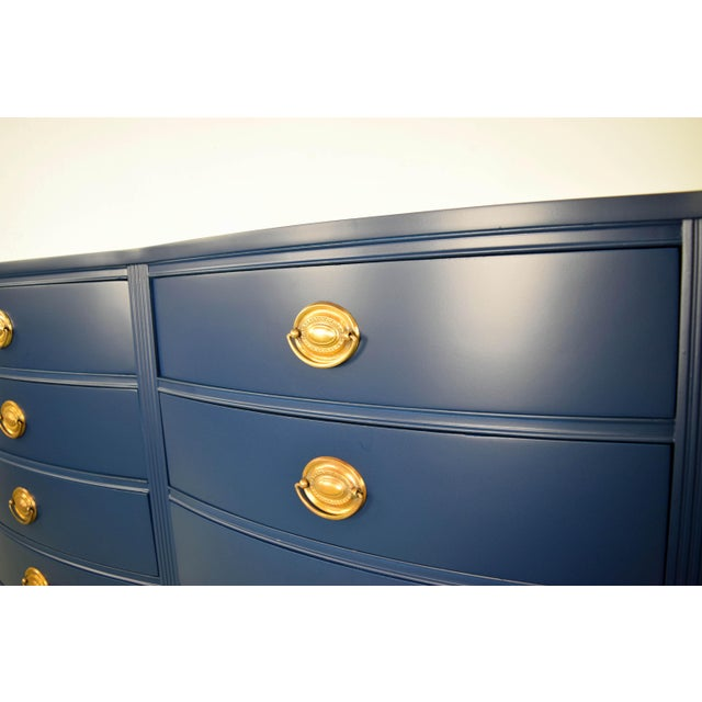 Wood 19th Century Boho Chic Bassett Navy Blue Lacquer and Gold Dresser For Sale - Image 7 of 11