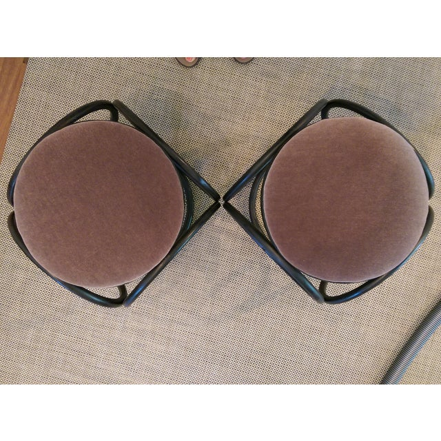 Mohair Thonet-Style Bentwood Ottomans - A Pair - Image 3 of 7