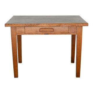 "Antique Oak ""GunnLino Top"" Desk With Inlaid Linoleum Top C.1920 For Sale"