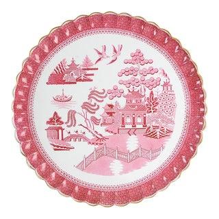 Antique Copeland Tower Pink Gold Trim Round Platter For Sale