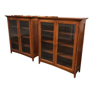 Thomasville Two-Door Glass & Wood Bookshelves - a Pair For Sale