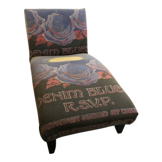 2010's Boho Chic Denim Blues Chaise Lounge For Sale