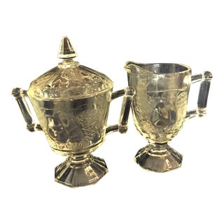 Jeannette Glass Pressed Baltimore Pear Creamer and Lidded Sugar Bowl - Set of 2 For Sale
