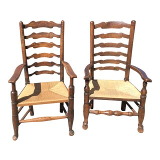 Antique English Ladder Back Chairs - A Pair For Sale