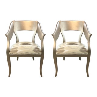 Caracole Couture Modern Bank of England Chairs Pair For Sale
