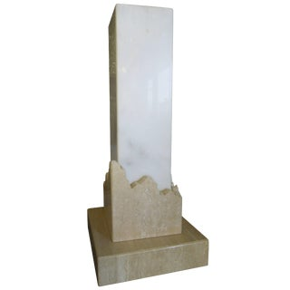 h.r. Signed Italian Travertine and Marble 1970s Modern Column Lamp For Sale
