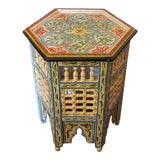 Image of Moroccan Hexagonal Wooden End Table For Sale