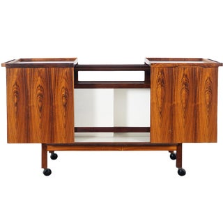 Danish Rosewood Expandable Bar Cart by Niels Erik Glasdam For Sale