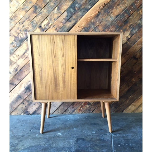 Mid-Century Modern Mid-Century-Style Teak Record Cabinet For Sale - Image 3 of 8
