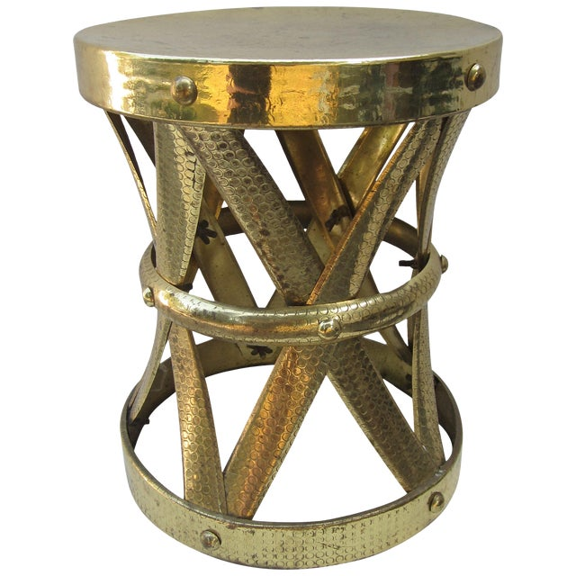 Modern Brass Stool or Table For Sale
