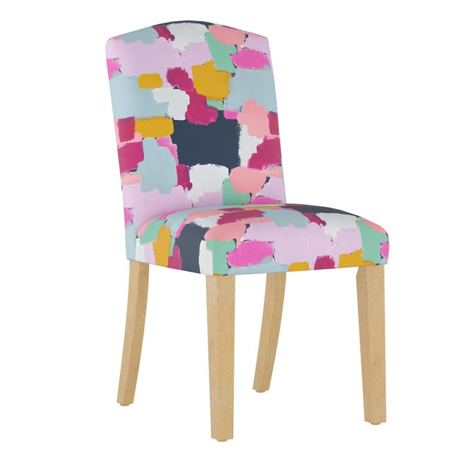 Camel Back Dining Chair in Joyful Navy Oga For Sale In Chicago - Image 6 of 7