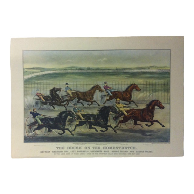 "Currier & Ives Color Print, ""The Brush on the Homestretch"", 1955 For Sale"