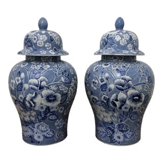 Mid 20th Century Temple-Ginger Jars Blue and White Floral Design - a Pair For Sale